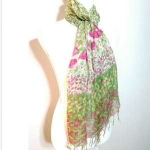 Accessories - Fashion Scarf Green and Pink Floral Roses Fringe